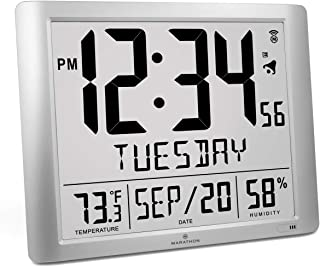 Marathon CL030061-FD-GG Super Jumbo Atomic Full Calendar Wall Clock with 7 Time Zones, Indoor Temperature and Humidity. Large 20 Inch Display with 6.5 Inch Numbers. Batteries Included (Graphite Grey)