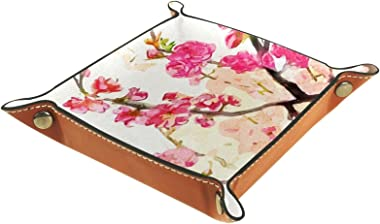 Leather valet Tray Multi-Purpose storage box Tray Organizer Used for storage of small accessories,Pink Plum Blossom Chinese P