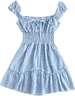 Women's V-Neck Sleeveless Smocked Printed Drawstring A Line Dress