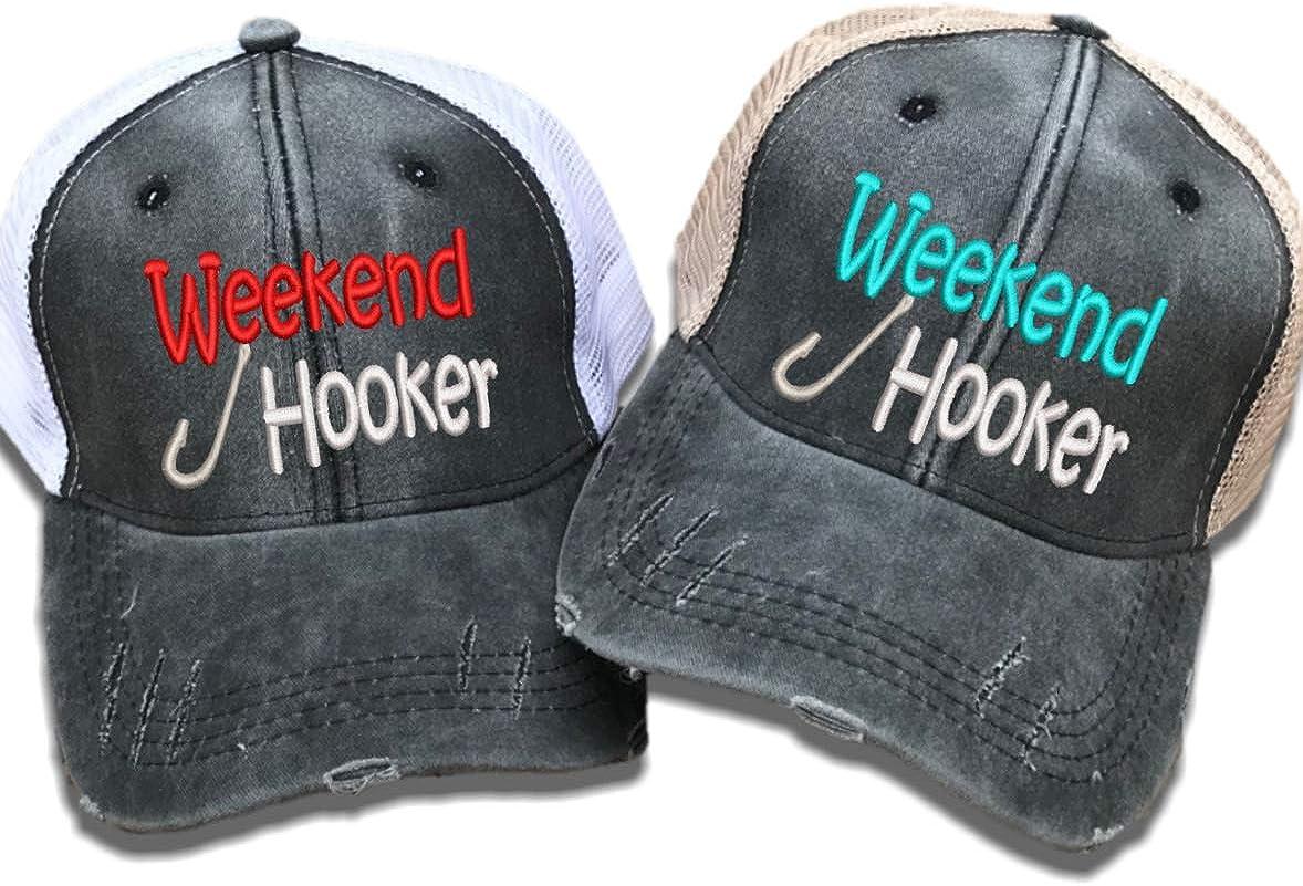 Women's Fishing Trucker Hat Weekend Hooker Custom Distressed ...