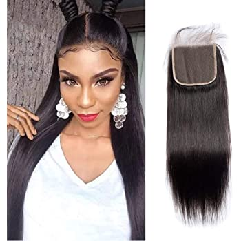 Maxine 5x5 Lace Closure Straight Human Hair Closure 5x5 Free Part with Baby Hair Natural Black Color 18Inch