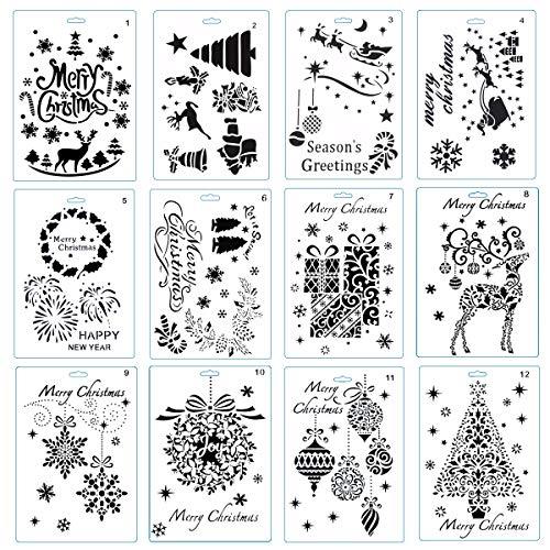 DIYASY Christmas Stencils Templates 10 Pack Christmas Painting Craft Stencils Templates for Party Decorations10'x7'