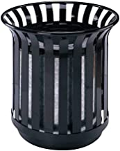 Trash can Metal Trash Can Recycling Bin Rubbish Waste Can Paper Bins (Black) Galvanized Material No Cover Bedroom Outdoor ...