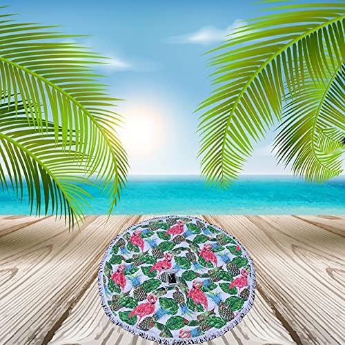 Toallas de Playa Mujer Grande Redonda Incluye Funda móvil Impermeable Bolsa estanca para Colgar Manta Pareo micofibra 150x150