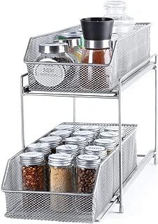 2 Tier Sliding Cabinet Basket Organizer with Metal Mesh Drawer for Pantry Under Sink Countertop Kitchen Bathroom - Silver