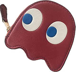 Pac Man Ghost Coin Case Leather Red Wallet Pouch