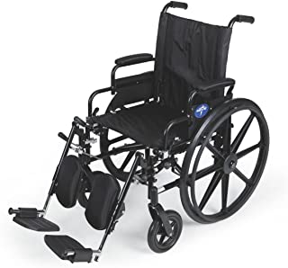 """Medline Premium Ultra-Lightweight Wheelchair with Flip-Back Desk Arms and Elevating Leg Rests for Extra Comfort, Black, 16"""" x 16"""
