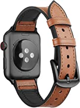 Oitom Leather Silicone Sports XXL XL Band Compatible with Apple Watch 42mm 44mm, Hybrid Sweatproof Replacement Straps Compatible with iWatch Series 4 3 2 1 Men (L/XL/XXL Cinnamon Brown)