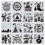 Lezed Schablonen Weihnachten Weihnachtsschablone Wiederverwendbare 16 STK Kunststoff Weihnachts Zeichnung Malerei Schablone Zeichenschablonen Malschablonen aus Kunststoff für Scrapbook Geschenkkarten