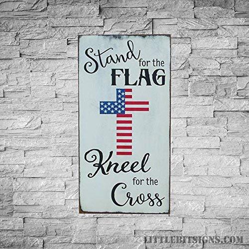 Monsety Stand Voor De Vlag Kneel Voor Het Kruis Teken Patriottische Teken Gemaakt om te bestellen Militaire Teken Amerikaanse Vlag Teken 10 x 18 Inch Houten Teken Plaque Home Wall Art Decoratie Teken Gift