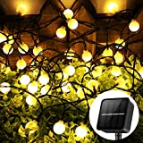 AMIR Upgraded Solar Globe String Lights Outdoor 60 LED, 8M/26Ft Solar Fairy Lights, 8 Modes Waterproof Solar Powered String Lights, Fairy Light for Home, Yard, Party, Festival, Christmas (Warm White)