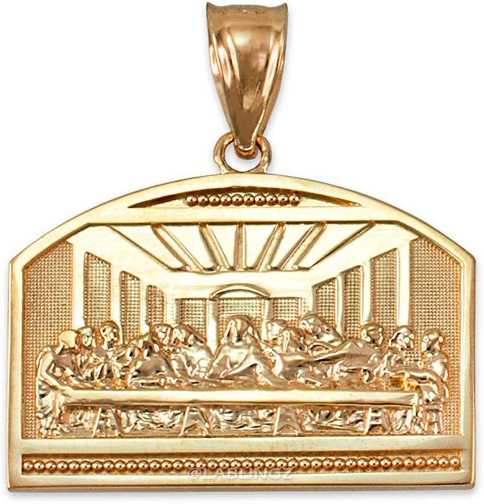 LA BLINGZ 14K Yellow Gold Last Supper Pendant