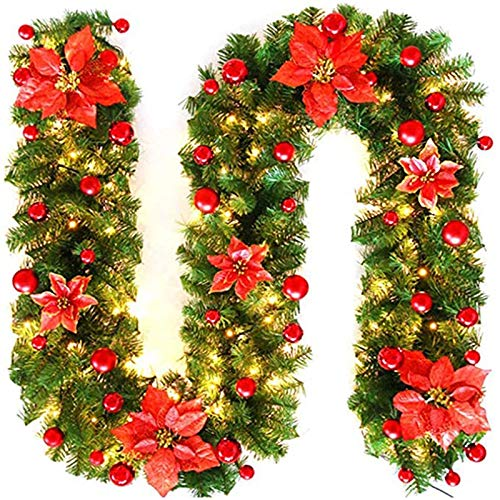 Grateful for everything Christmas Wreath with Lights, 8.8 Feet Pre-Decorated Wreath Christmas Wreath, Glowing Fireplace Staircase Wreath with LED Lights, Pine Cones, Christmas Decoration(Color:red)