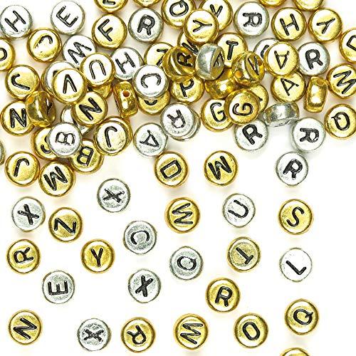 Baker Ross Cuentas de alfabeto de oro y plata: ideal para joyería, brazalete, collar y llaveros, manualidades y regalos para niños, regalos y más (paquete de 400)
