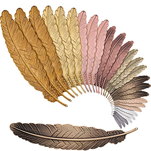 Tatuo 27 Pieces Feather Metal Bookmarks Feather Bookmarks Feather Shaped Bookmarks for Adults and Kids, Simple Elegant and Thin (27 Pieces)