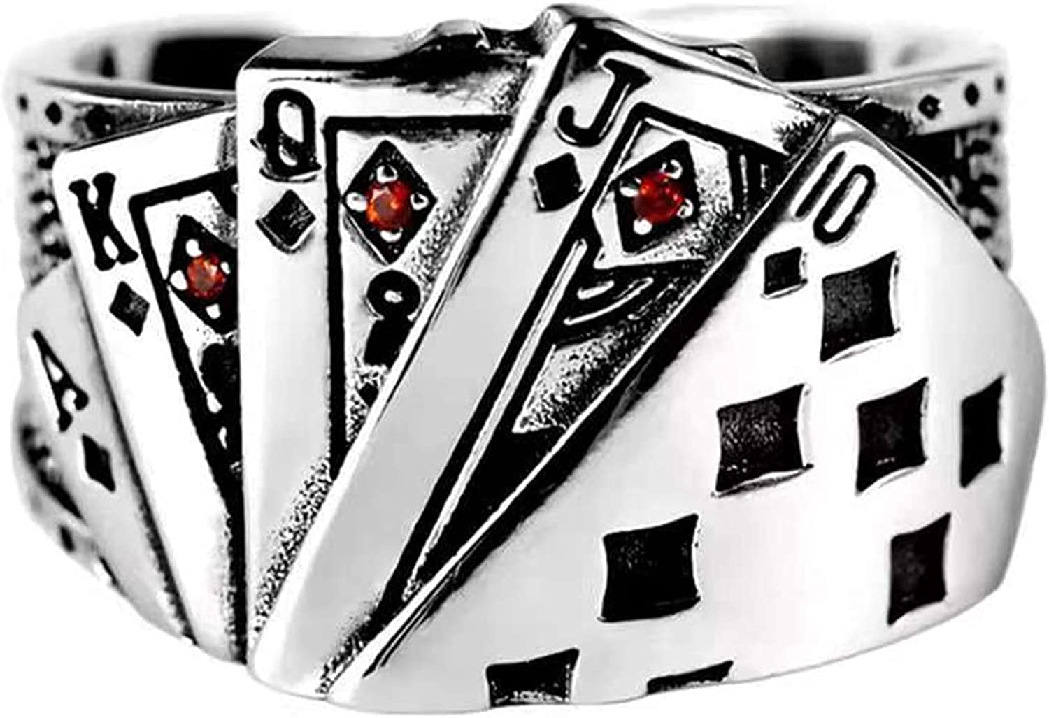 floatofly Engagement Ring Jewelry Retro Unisex Ring Playing Card Adjustable Poker Engraved Open Ring Jewelry for PartyShow Your Beauty