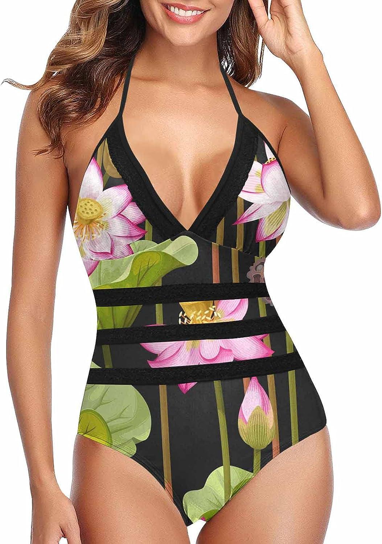 InterestPrint Light Lavender Ranking TOP9 Women Bathing Suits Monokini Lace B Recommendation