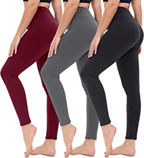High Waisted Leggings for Women - Opaque Slim Tummy Control Pants for Yoga Workout Cycling Running (3 Pack Black, Dark Gre...