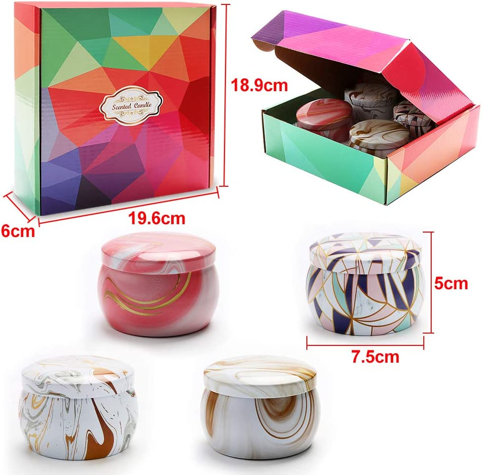 ba/ño KIPIDA Juego de 4 velas perfumadas de hojalata decorativa para regalo de San Valent/ín regalo para mujer yoga boda alivio del estr/és y aromaterapia