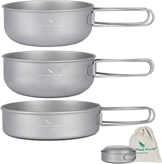 Boundless Voyage Ultralight Titanium Bowls Pan with Folding Handles Outdoor Camping Tableware Set
