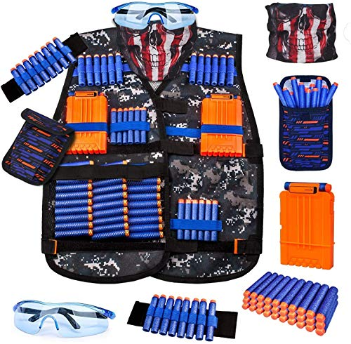 Kids Tactical Vest Kit for Nerf Guns Series with Refill Darts,Dart Pouch, Reload Clips, Tactical Mask, Wrist Band and Protective Glasses,Nerf Vest Toys for 8 9 10 11 12 Year Boys
