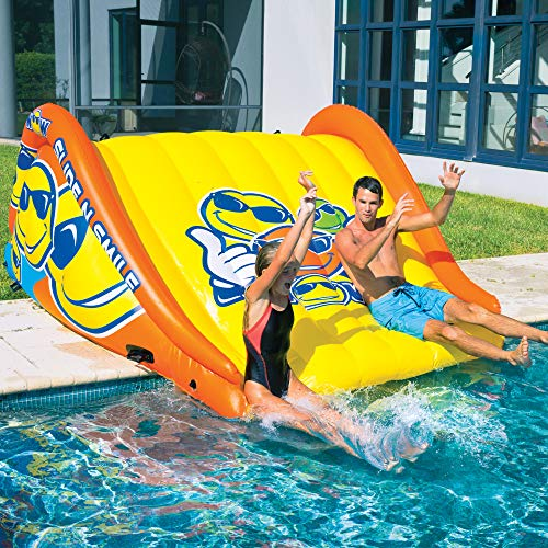 WOW Watersports Slide N Smile 9 Feet Long Floating 2 Lane Waterslide | 19-2210