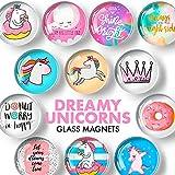 Unicorn Magnets for Fridge – Glass Decorative Magnets for Refrigerator – Funny Refrigerator Magnets for Kitchen and Whiteboard – Cool Locker Magnets for Girls – Cute Fridge Magnets