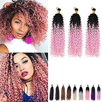 Crochet Curly Hair Extension Black to Pink Water Wave Crochet Hair Curly Braiding Hair Curly Crochet Hair For Black Women Marlybob Crochet Hair  14 Inch 3PCS Black to Pink