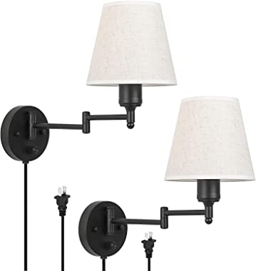 HAITRAL Swing Arm Wall Lamps Set of 2- Plug Wall Sconces with ON/Off Switch On Base, Bedroom Wall Lamps with Plug in & Ha