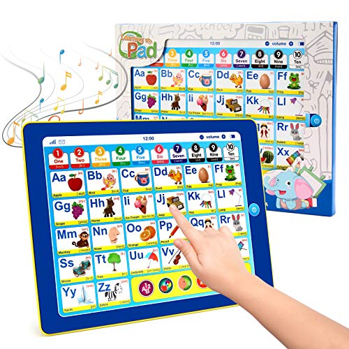 BEAURE Toddler Learning Tablet with ABC/Words/Numbers/Color/Games/Music, Interactive Educational Electronic Learning Pad Toys, Preschool Toddler Toys Gifts for Age 3 4 5 Year Old Boys and Girls