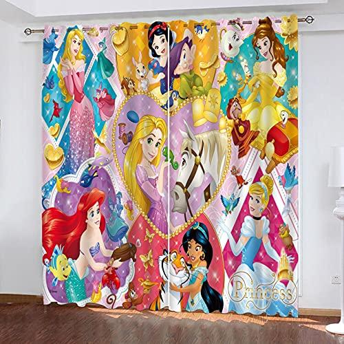 Bfrdollf Juego de 2 cortinas opacas para habitación de los niños, para niñas, princesas Disney Disney, reducción de ruido, cortinas opacas (3,280 x 180 x 180 cm (ancho x alto)