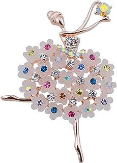 Belons Broche para mujer, bailarina, chica, con diamantes de imitación, para bodas, banquetes de novia