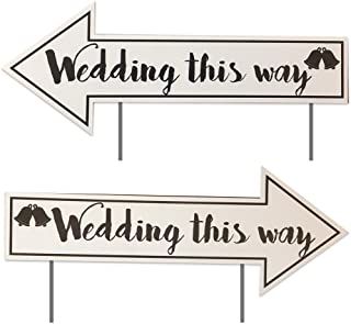 """VICTORYSTORE.COM Wedding Yard Signs Wedding Directional Signs (2 Pack) with 2 Stakes per Sign - 23""""x9"""" - Waterproof Corrugated Plastic"""