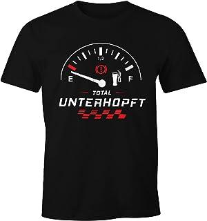 MoonWorks Herren T-Shirt Total Unterhopft Bier Tankanzeige Tacho Fun-Shirt