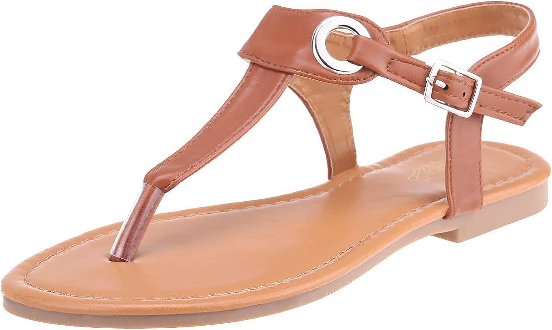 Cazuer Open Toe Flat Sandals Slingback Ankle Strap Flip Flops for Women, Standard Brown, 6