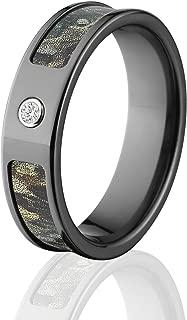 Black Camo Rings with Diamond, Realtree Timber Camo Band