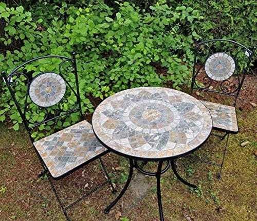 K&L Wall Art 2X sillas y Mesa de jardín de Mosaico de Piedra Natural Conjunto de Muebles de balcón, Resistente a Las heladas para Interior y Exterior