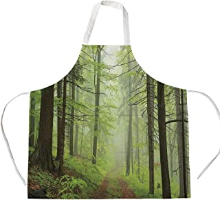 iPrint Cotton Linen Apron,Two Side Pocket,Outdoor,Trail Trough Foggy Alders Beeches Oaks Coniferous Grove Hiking Theme,Light Green Light Yellow,for Cooking Baking Gardening