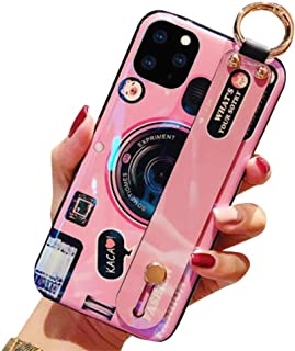 Aulzaju Case for Samsung S20 Plus,Galaxy S20 Plus Wrist Strap Stand Cover S20 Plus Finger Grip Hand Holder Case with Ring Cute Bling Holographic Camera Design Phone Case for Kids Girls 6.7'' (Pink)
