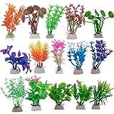 QUACOWW 15 plantas artificiales de plástico para acuario, para decoración de peces, plantas acuáticas falsas y duraderas para decoración de acuario.