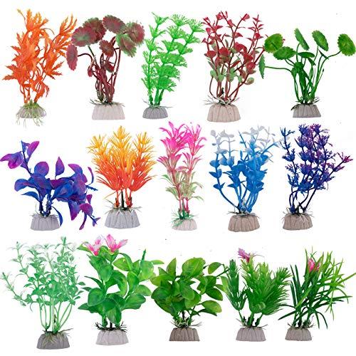 QUACOWW 15 Stück Aquarium-Pflanzen, Kunststoff Aquarium Künstliche Pflanze Fisch Tank Dekoration, Lebensechte Langlebige Gefälschte Wasserpflanzen für Aquarium Dekoration