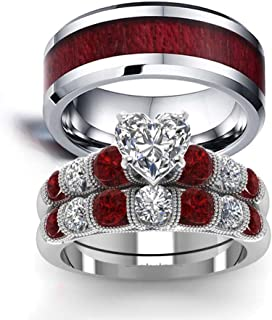 IOU Two Rings His Hers Wedding Ring Sets Couples Rings Women's 2pc White Gold Filled Red CZ Wedding Engagement Ring Bridal...
