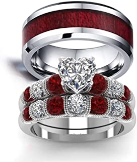 LOVERSRING His and Hers Wedding Ring Sets Couples Rings 10K White Gold Stainless Steel Wedding Engagement Ring Bridal Sets Men's Tungsten Carbide Band
