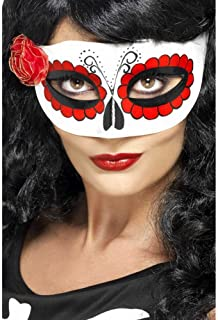 Smiffy's Mexican Day Of The Dead Eyemask, White/Red, one size, 27854