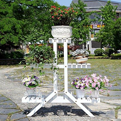 Support pour jardinière en bois pour pot de fleur intérieur en bois avec support extérieur (choix de différentes tailles) (couleur: blanc, taille: 25 * 84 * 84 cm)