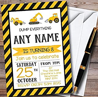 10 x Digger Construction Dump Everything Personalized Childrens Birthday Party Invitations