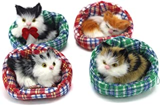 Coolayoung 4Pcs Sleeping Cat in Cattery Doll Toy, Mini Kitten on Pet Pad Decor for Office Desk Hand Toy Gift for Kids Boys...
