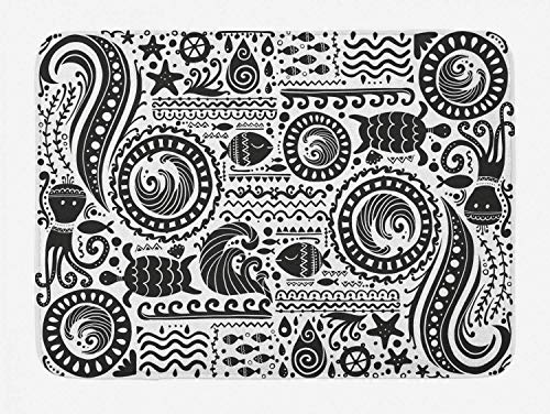 Aboriginal Bath Mat, Jumble Monochrome wh Tribal Marine Themed Ornaments, Plush Bathroom Decor Mat wh Non Slip Backing, Charcoal Grey Whe