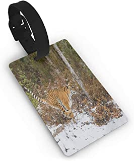 Luggage Tag for Women/Men, Bengal Tiger in Snowy Jungle Hunting and Cruising for Prey Furry Majestic Mammal Travel Baggage Tags Material PVC Suitcase Tags
