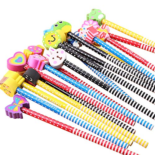 BUSHIBU Kids Wooden Pencils 12 Pack Colorful Stripe Pencil With Cute Cartoon Animals Eraser for School Supplies and Children Prize Gifts New York